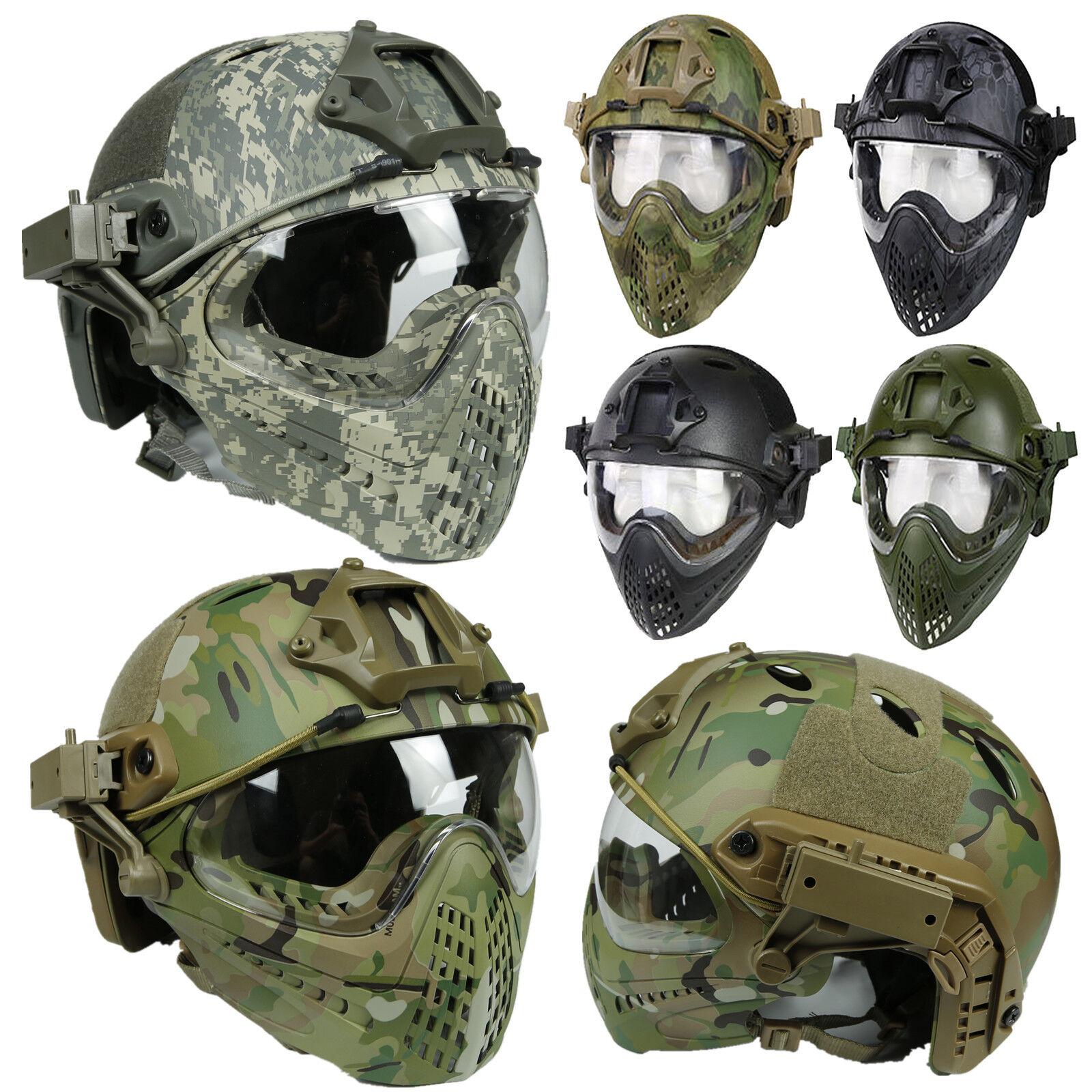Casco rápido Projoectora Militar Táctico de Paintball Airsoft con lente de las gafas máscara y