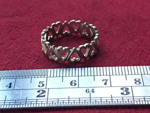 Beautiful Hearts Love Link Band Ring 925 Sterling Silver *Size 5.25 /& 8* K193