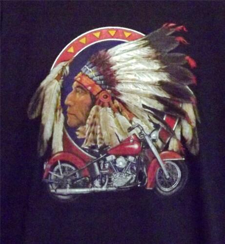 5XL MOTORCYCLE W// INDIAN HEAD BLACK SHORT SLEEVE TEE SHIRT SIZES SMALL