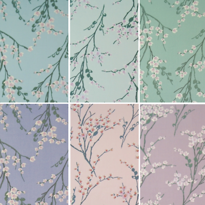 100/% Cotton Poplin Fabric Rose /& Hubble Blooming Flowers Floral Branches
