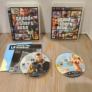 Lot-of-2-Playstation-3-PS3-Rockstar-Games-Grand-Theft-Auto-IV-amp-V-Five