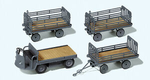 Preiser-17122-Gauge-H0-Figurines-Electric-Cart-With-3-Trailers-DB-New-Boxed