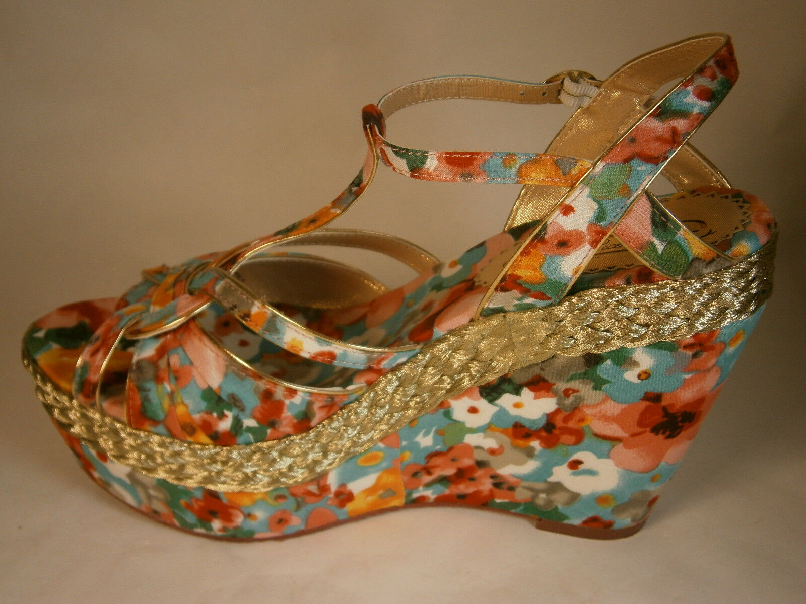 POETIC LICENCE schuhe 9 ARM CANDY Rosa Gold Gold Rosa SANDALS FABRIC FLOWERS 5  HIGH HEELS 8259a0