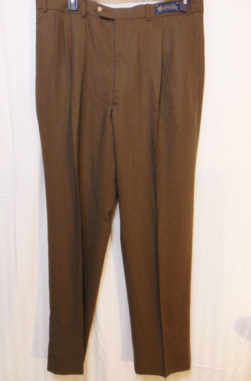 Robert Amerigo   Biella London Mens Pleated Dress Pants 38 x L 35 Brown Wool New