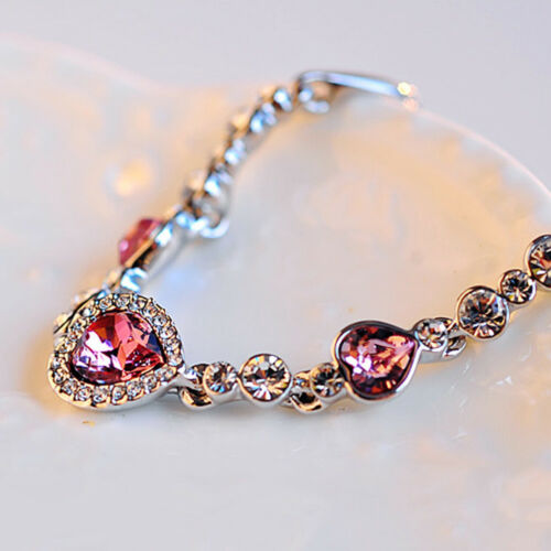 Femmes Cœur Cristal Bracelet STRASS Bracelet Poignet Chaîne Charme Bijoux Cadeau
