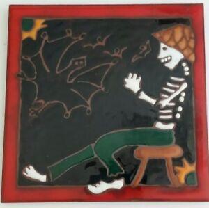 Skeleton-and-Bats-Spooky-Art-Tile-Elaine-Cain-Day-of-the-Dead-6X6-Halloween