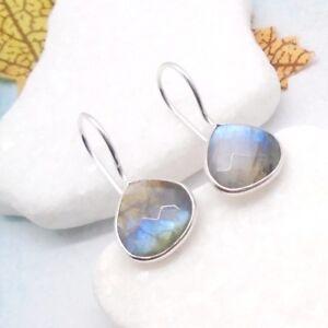 Labradorit-Tropfen-Design-Ohrringe-Haenger-Haken-Ohrhaenger-925-Sterling-Silber