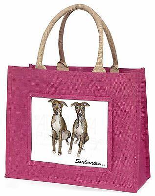 Whippet Hunde Soulmates Große Rosa Einkaufstasche Weihnachtsgeschenk I,
