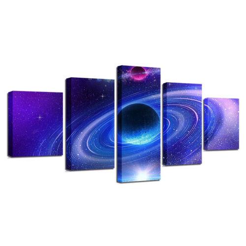 Universe Space Galaxy Planet 5 Panel Canvas Print Wall Art