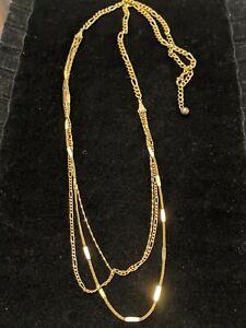 Vintage-Estate-Gold-Tone-Figaro-Chain-Multi-Strand-Necklace-Twist-Bar