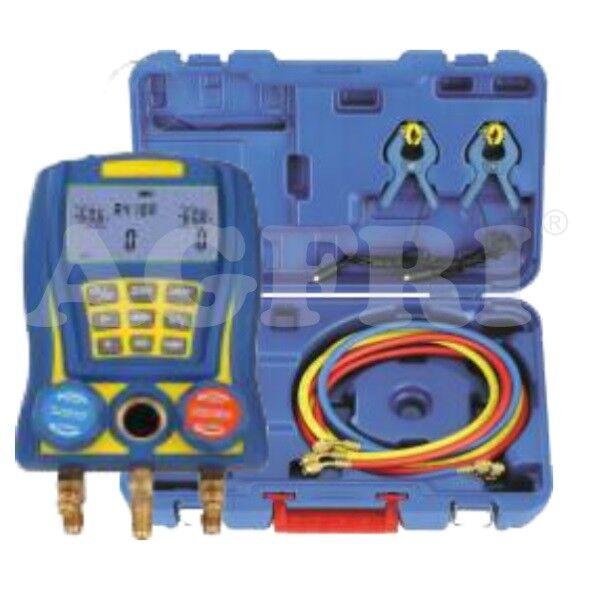 Juego profesional de manómetro digital 2 válvulas.Alta precisión. Climatización.