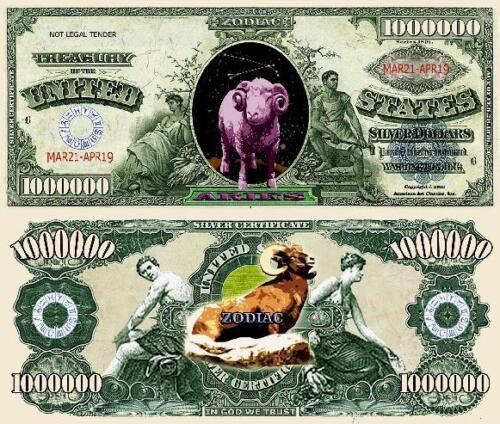 Aries Zodiac Million Dollar Bill Fake Play Funny Money Novelty Note FREE SLEEVE