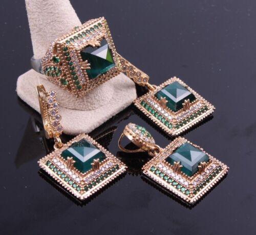 turkish handmade 925 sterling silver green emerald stone ladies set ALLSİZE us 6