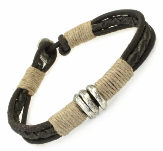 A213 Herren Armband Leder Flechtarmband Biker Rock Surfer Leather Bracelet Men