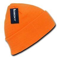 Neon Orange Knit Cuff Beanie Hat Skull Snowboard Winter Warm Ski Hats Beanies