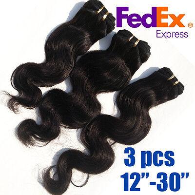 3pcs Mixed Size 300g Virgin Human Hair Extensions weft Body Wave Natural Black