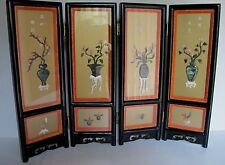 "Vintage Chinese 4 Panel Black Lacquer Hard Stone Byobu Table Screen 18"" x 24"""