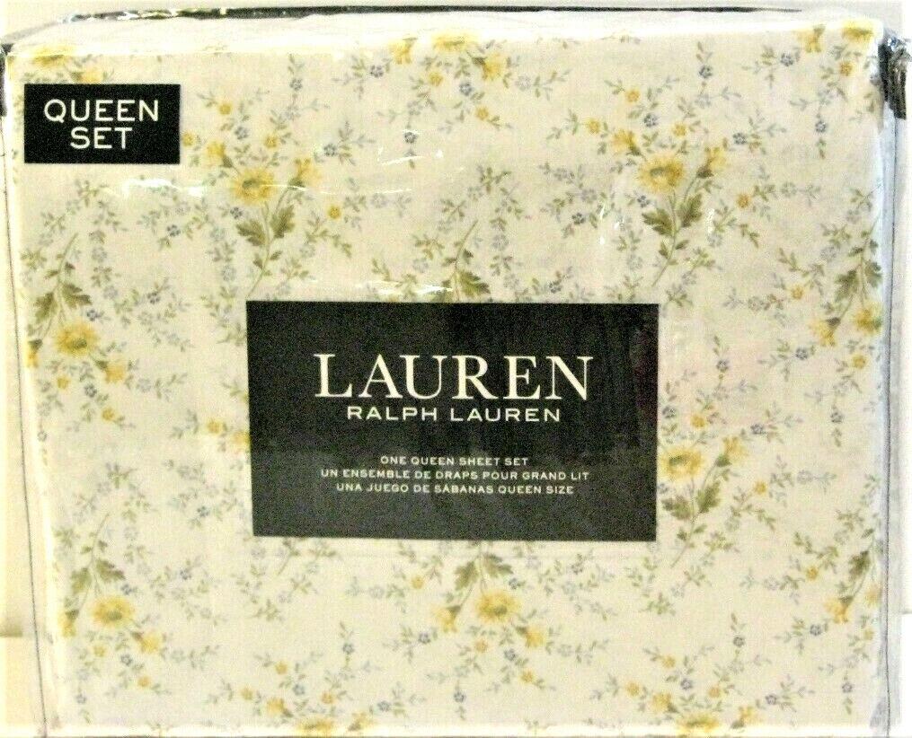 Ralph Lauren 4 PC Cotton Sheet Set Set Set Floral Shabby Gelb Blau Queen - NEW 824e0b