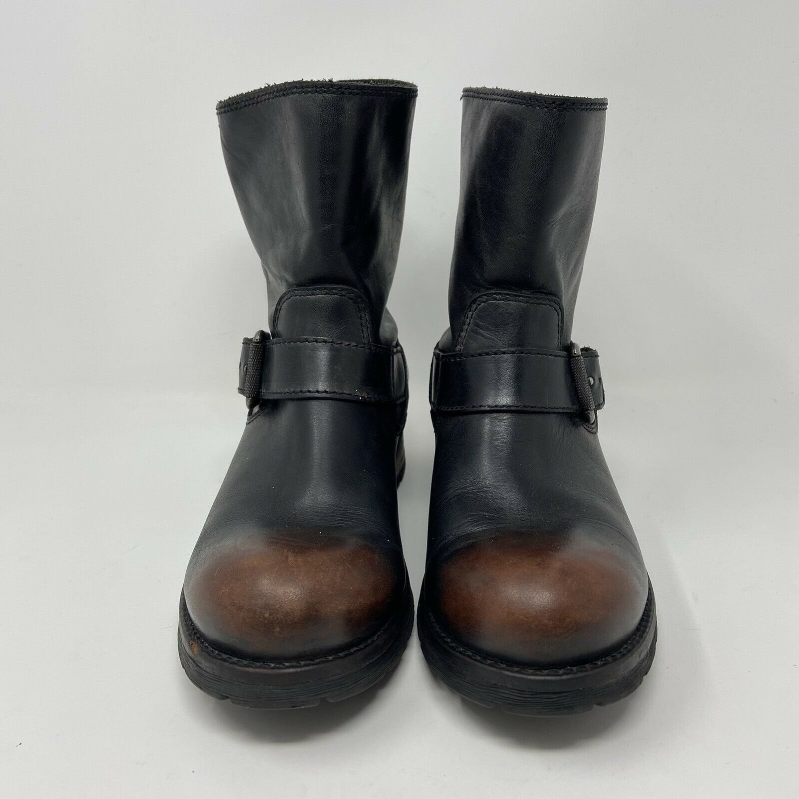 Diesel Womens Leather Moto Ankle Boots Distressed Black Brown Buckle Sz 37 US 7