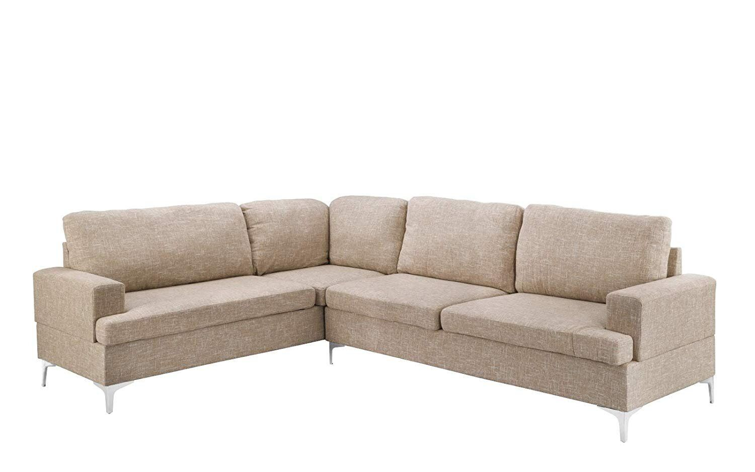Family Room Sectional Sofa Classic Living Room L-Shape Couch, Linen Fabric  Beige