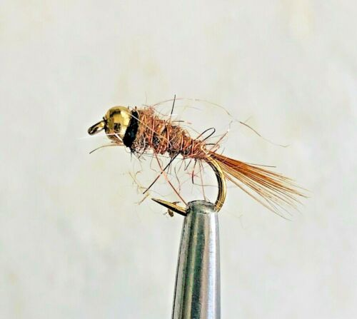 BEAD HEAD HARE AND COPPER NYMPH TROUT FLY FISHING FLIES 6 FLIES X SIZE #14