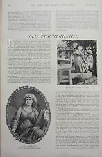 1902 PRINT ~ OLD FIGURE-HEADS SHP BUSTS LADY HAMILTON CARVING SYBILLE