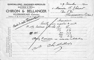 14 Villers-bocage Chiron Bellanger Machines Agricoles Quincaillerie Facture 1932 Usurmp32-08005941-401326433