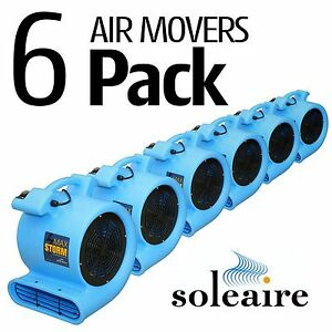 6 Pack Soleaire Blue Max Storm Air Mover Carpet Floor Blower Fan Water Damage