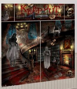 HALLOWEEN-HORROR-HAUNTED-HOUSE-MANSION-SCENE-SETTER-POSTER-PARTY-WALL-DECORATION