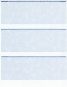25-Sheets-75-Checks-Blank-Check-Stock-Paper-Blue-Three-3-on-a-Page