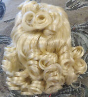 """#730 10"""" Fine Syn Pale Blond Syn Mohair Wig """"Robyn"""" for Antique Bisque Doll or?"""