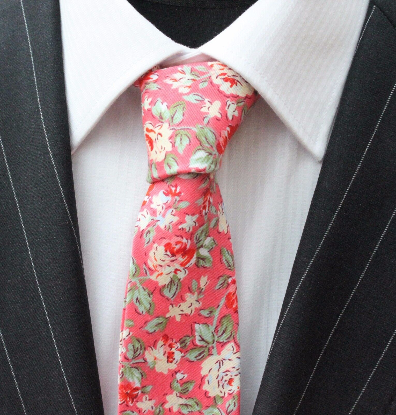 Tie Neck tie Slim Rose Pink with Red & Off White Floral Quality Cotton T6128