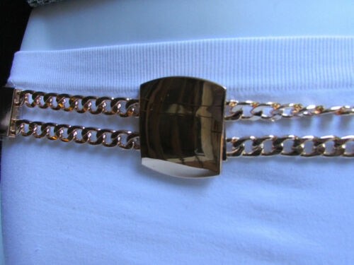 WEDDING BRIDAL WOMEN ELASTIC WAIST HIP BROWN FASHION BELT GOLD CHAIN BUCKLE S M