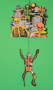 Vintage-Skeleton-Skull-Amscan-Die-Cut-Halloween-Hanging-Decor-Decoration