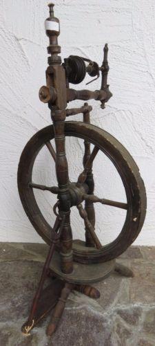 PüNktlich Gedrechseltes Spinnrad Uralt Ca. 1870