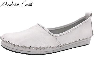 new product 663f8 29ab0 Andrea Conti Damen Slipper Echt Leder Weiß Schuhe Ballerina Weich NEU  0027422 | eBay