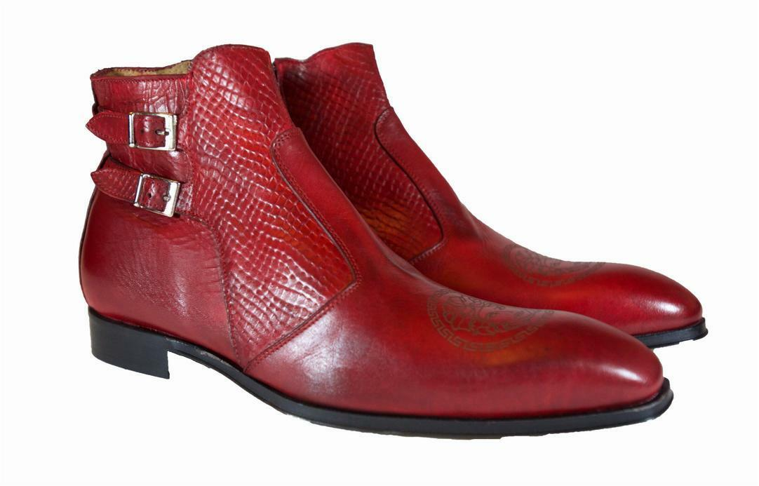 Red Ankle Boot Handmade Men Italian Leather Dress boot Size 45