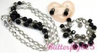 Brighton Contempo Chic Black Necklace Bracelet Earrings Set Pouch $254