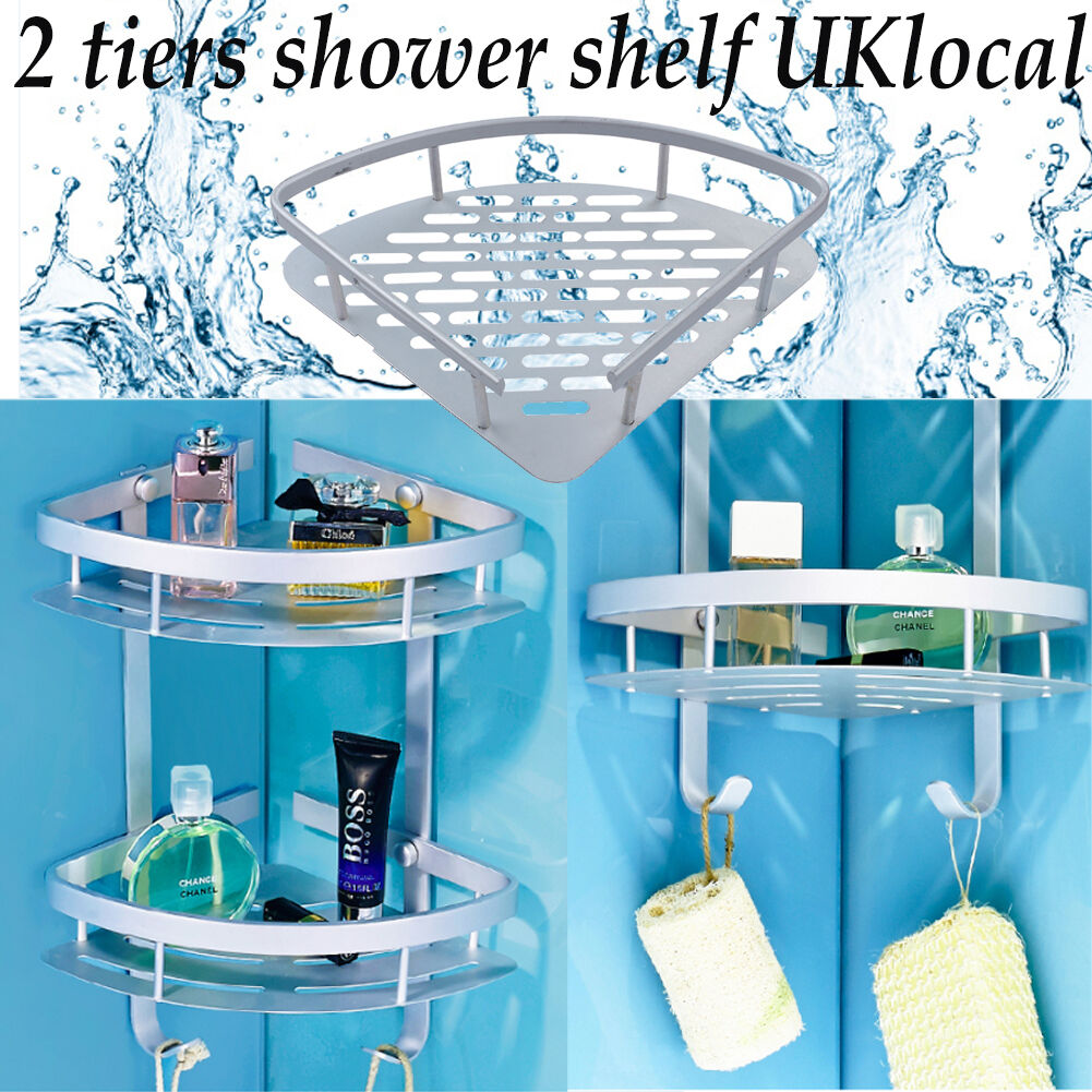 UK 2 Tier Alumimum Corner Shelf/rack Storage Caddy Shower Organiser ...