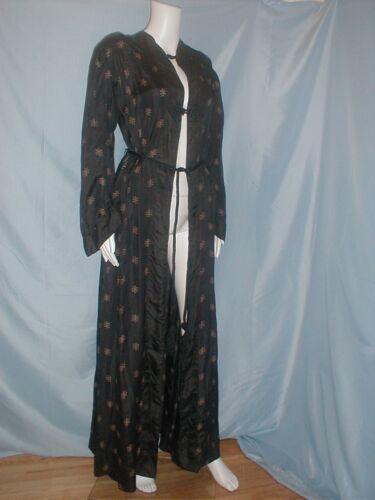 Antique Dress Robe Edwardian 1912 Printed Black Si