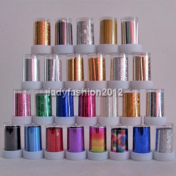 26 Rolls Mix colors Nail Art Transfer Foil Paper Set Nail Tip Decoration New