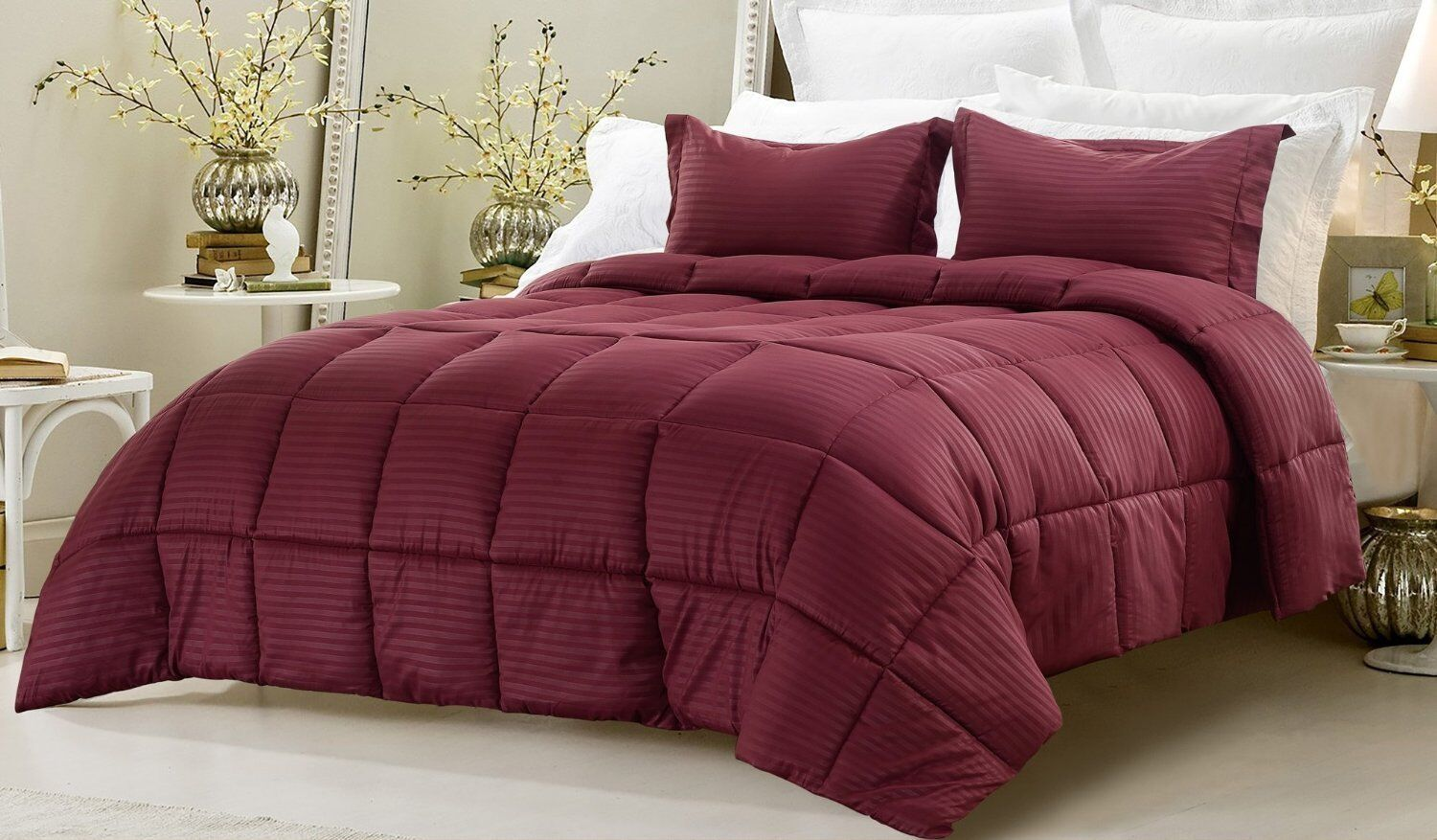 Branded Down Alternative Comforter Egyptian Cotton Wine Striped US Queen Size