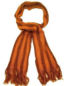 Soft Knitted Striped Scarf unisex Orange Grey Asst