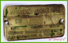 John Deere 520 Serial Number Tag 1958 5211033 Brass Tag Missouri Tractor