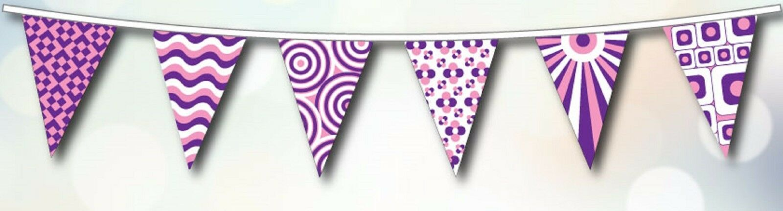 Hippy Festival Polyester Bunting - 20m with 48 Flags - lila and Weiß
