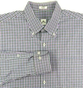 Peter Millar Long Sleeve Shirt Mens Size L Large Black Blue White Plaid Cotton