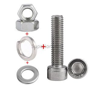 Details about M8*16-50mm A2 Left Hand Threaded Screw Allen Key  Bolt+Nut+Flat+Spring Washer Kit
