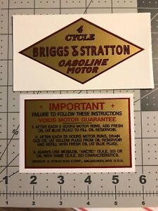 Briggs & Stratton Early Gold Decals 1931-32 M, Q, R, FJ-1, W & early Z St 2