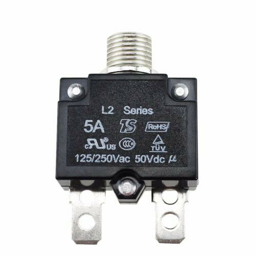 DC50V Push Button Resettable Thermal Circuit Breaker Panel Mount 5 10 15 20A UK