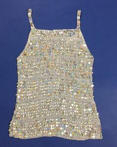 Maglia-paillettes-sottogiacca-top-maglia-usato-maglietta-S-stretch-argento-T871